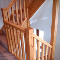 The second storey banister af a staircase